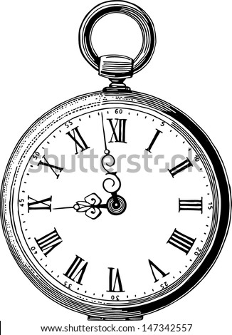 antique pocket watch - stock vector