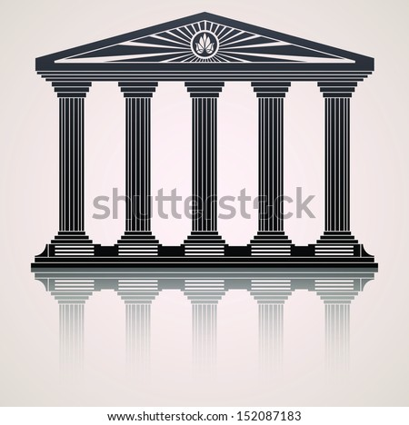 Antique roman temple stylized vector background - stock vector