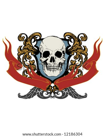 antique skull crest - stock vector