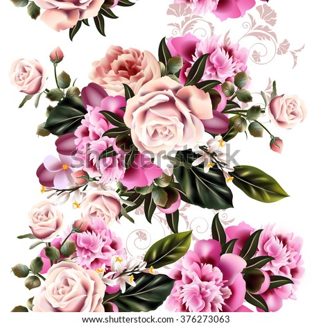 Antique styled floral pattern with realistic peony flowers - stock vector
