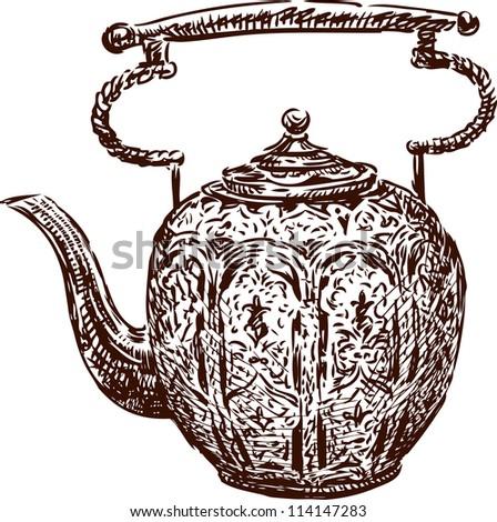 antique teapot - stock vector
