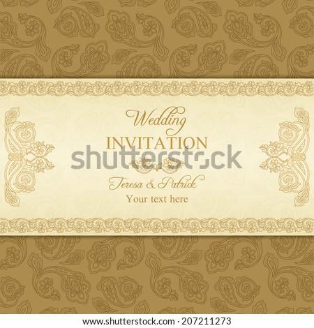 Antique turkish cucumber wedding invitation, beige and gold background - stock vector