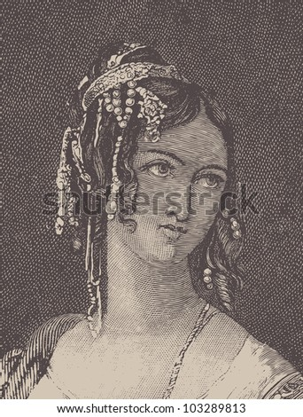 "Antique woman. Illustration from the book of Mihailov  ""Lord Byron"". Dobrodeev printing house, St. Peterburg, 1888. - stock vector"