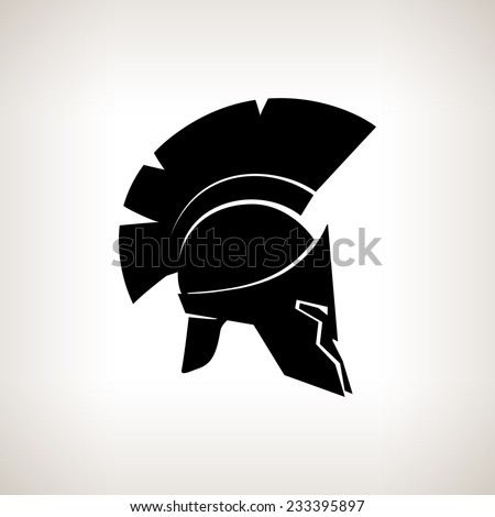 Antiques Roman or Greek helmet for head protection soldiers with a crest of feathers or horsehair with slits for the eyes and mouth, vector illustration - stock vector