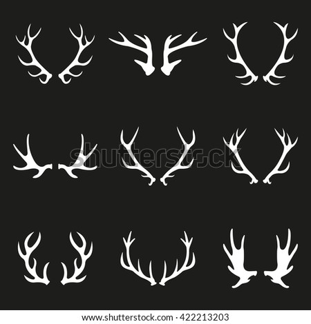 Antler icon set. Deer antlers or Horns collection. Vector illustration. - stock vector