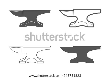 Anvil. Vintage Style. Vector Illustration isolated on white background. Blacksmith equipment. - stock vector