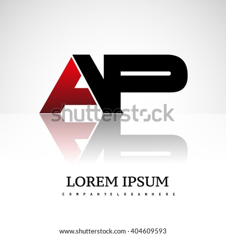 AP company linked letter logo icon red and black - stock vector