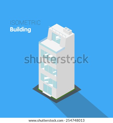Apartment building. Isometric vector construction. - stock vector