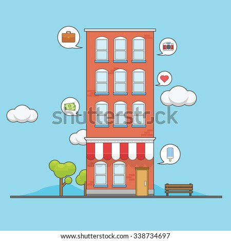 Apartment building with what people think inside them - stock vector