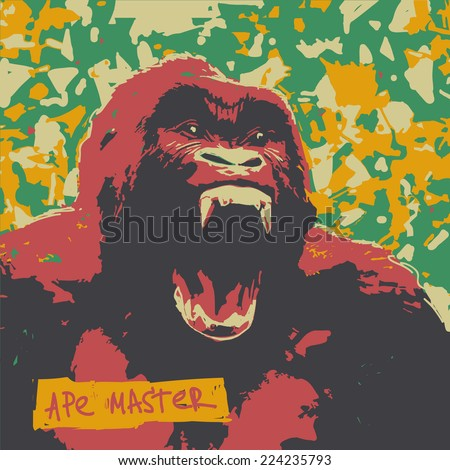 Ape roar high color contrast vector graphic illustration  - stock vector