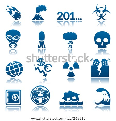 Apocalyptic and natural disasters icon set - stock vector