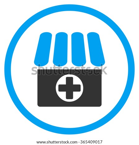 Apothecary vector icon. Style is bicolor flat circled symbol, blue and gray colors, rounded angles, white background. - stock vector