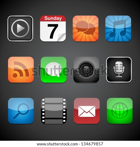 App Icons - Vector app icons on a black background.  Eps10 file with transparency. - stock vector