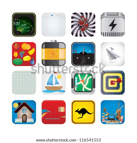 app set of icons - stock vector