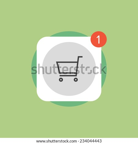 App store shopping cart with update symbol, online mobile application download button. Flat icon modern design style vector illustration concept. - stock vector