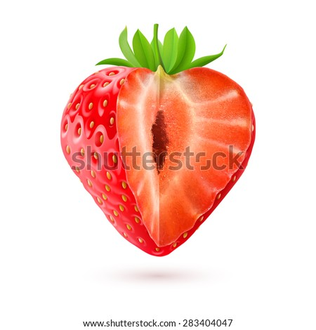 Appetizing cut strawberry isolated on white background - stock vector