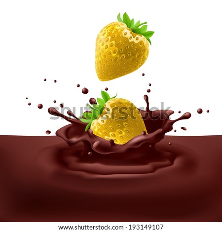 Appetizing yellow strawberries dipping into chocolate with splashes - stock vector
