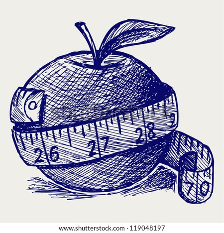 Apple and measure tape. Doodle style - stock vector