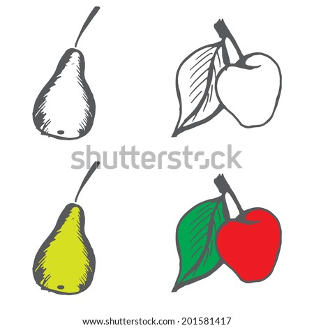 Apple and pear. Hand drawn icons or sign. Fruits set. Doodle vector illustration on white background. - stock vector
