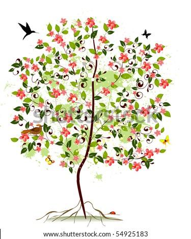 Apple blossom tree - stock vector