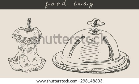 Apple core and  dome dish food tray as ecology concept, in engraving etching sketch hand drawing style, for food, eco  and restaurant design - stock vector