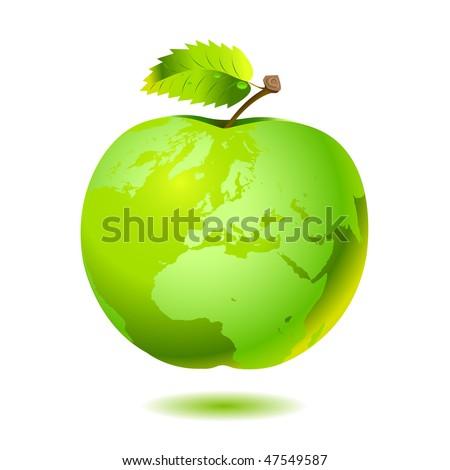 Apple Earth. Vector. - stock vector