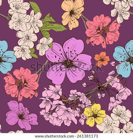 Apple flowers ornament pattern backgrounds, vector illustration - stock vector