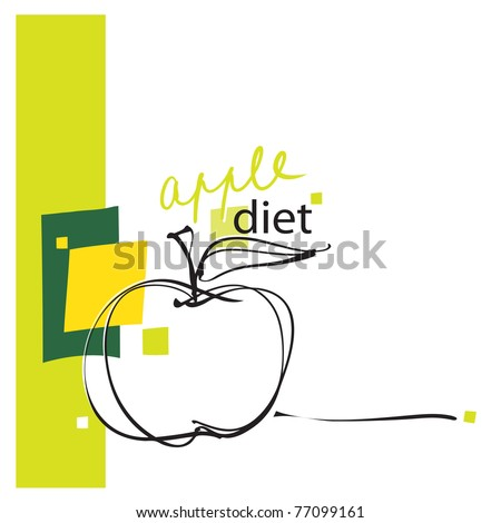 apple icon, design, freehand drawing (vector) - stock vector