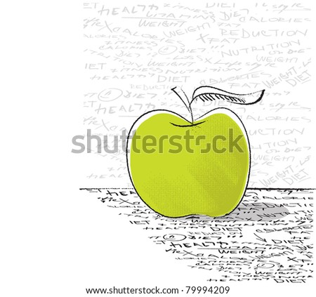 apple icon - diet concept (artistic freehand drawing with lettering) - stock vector