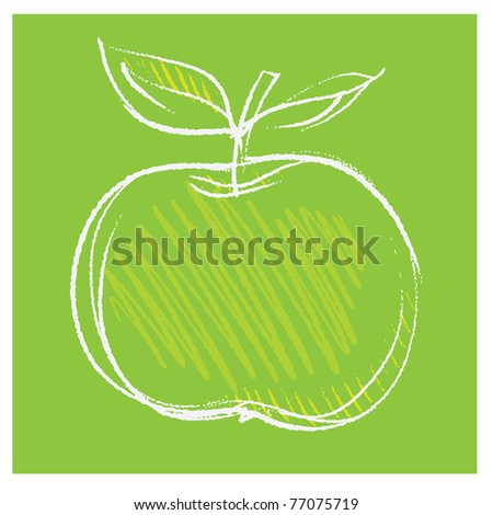 apple icon, freehand drawing vector - stock vector