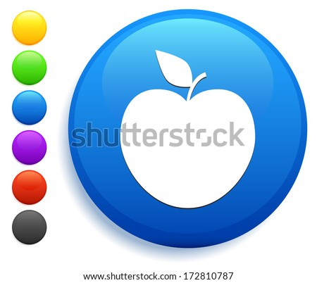 Apple Icon on Round Button Collection - stock vector