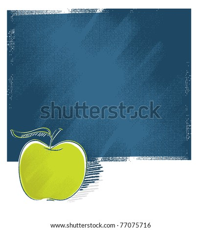 apple icon, upon attractive grunge background, freehand vector - stock vector