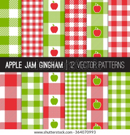 Apple Jam Red and Green Gingham Plaid and Buffalo Check Vector Patterns. Red, Green, White Pixel Gingham Patterns. Food Packaging Backgrounds. Vector EPS File Pattern Swatches made with Global Colors. - stock vector
