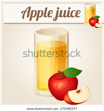 Apple juice. Detailed Vector Icon. Series of food and drink and ingredients for cooking. - stock vector