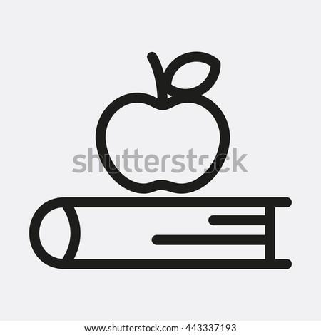 Apple on book Icon, Apple on book Icon Eps10, Apple on book Icon Vector, Apple on book Icon Eps, Apple on book Icon Jpg, Apple on book Icon, Apple on book Icon Flat, Apple on book Icon App - stock vector