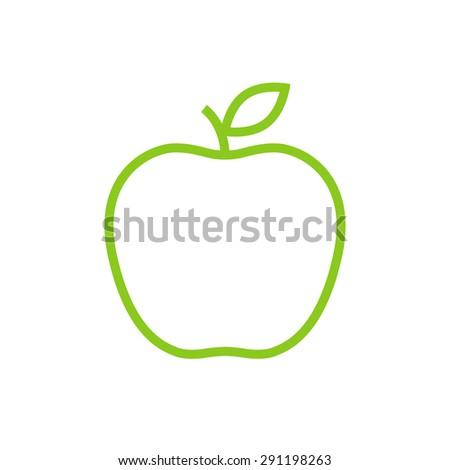 Apple outline icon, modern minimal flat design style, thin line vector illustration - stock vector