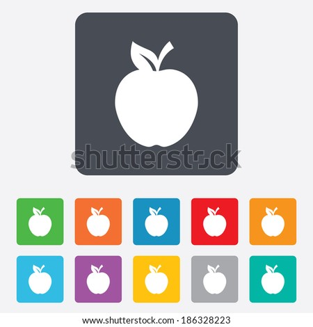 Apple sign icon. Fruit with leaf symbol. Rounded squares 11 buttons. Vector - stock vector