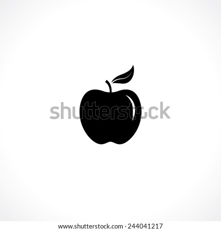 apple symbol. black silhouette isolated on white - stock vector