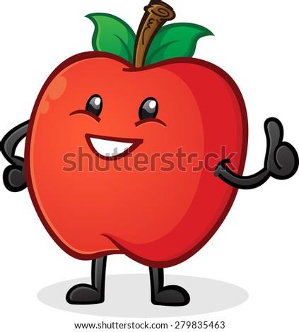 Apple Thumbs Up Cartoon Character - stock vector
