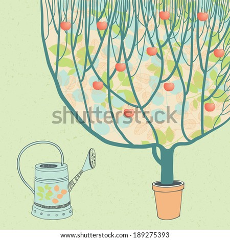 Apple Tree and Watering Can - stock vector
