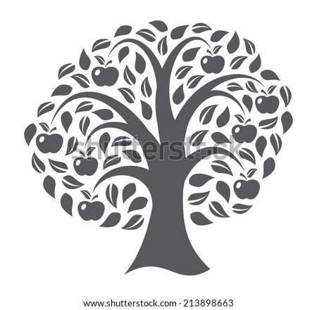 Apple tree on white background - stock vector