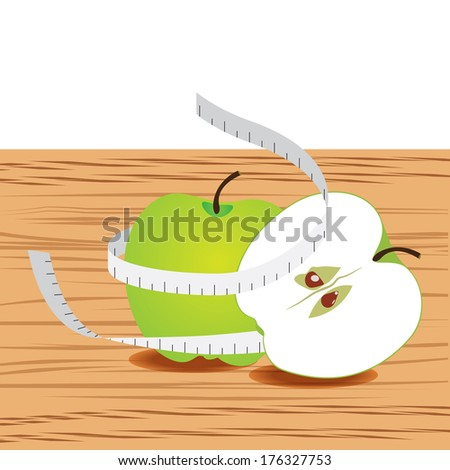 Apple with measure tape and table wood - stock vector