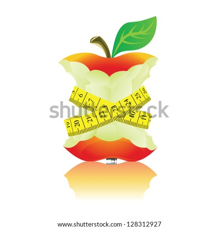 Apple with measure tape. Illustration on white background. - stock vector