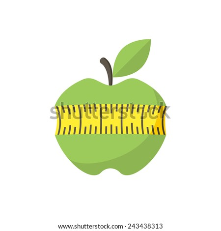 Apple with measuring tape, modern flat icon - stock vector