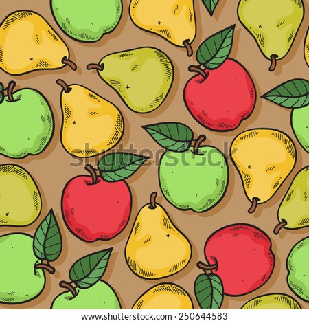 Apples and pears seamless pattern. Ripe fruits background. Sketch hand drawn style. - stock vector