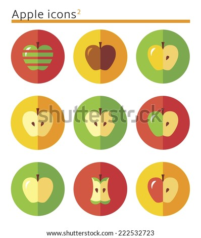 Apples. flat vector icon set in circles. - stock vector