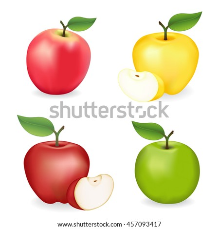 Apples, Pink Lady, Granny Smith, Red and Golden Delicious  varieties, fresh, natural, ripe, orchard garden fruit isolated on a white background.  - stock vector