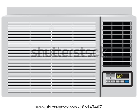 Appliance built in window air conditioner. Vector illustration. - stock vector