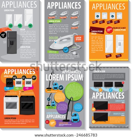 Appliances Template Set - Vector Illustration, Graphic Design, Editable For Your Design   - stock vector