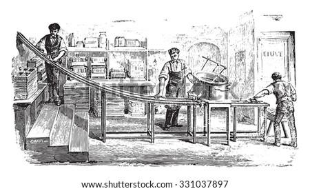 Applicable pasta, vintage engraved illustration. Industrial encyclopedia E.-O. Lami - 1875. - stock vector